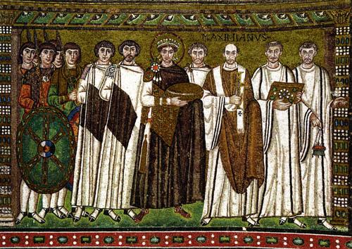 Император Юстиниан (VI в,) - автор идеи симфонии Церкви и государства. На илл.: мозаика
