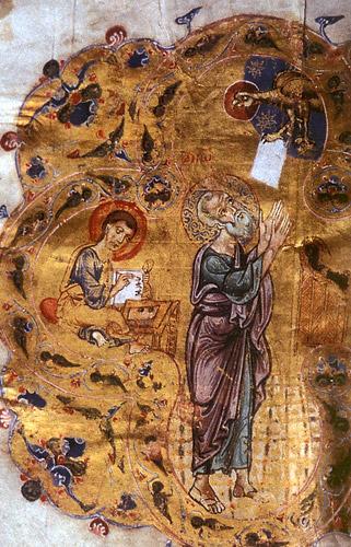 Мстиславово Евангелие (ГИМ. Син. 1203). Евангелист Иоанн с Прохором