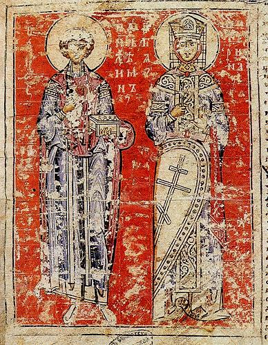 Пантелеймоново Евангелие (РНБ. Соф. 1). Святые великомученики Пантелеимон и Екатерина