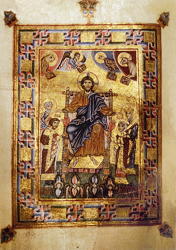 Молитвенник Гертруды (Чивидале, Италия. Cod. CXXXVI). Христос на троне, коронующий князя Ярополка и его жену Ирину