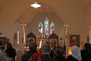 Interior of the Warnambool ROCOR Parish- note the stain glass windows which have inscriptions dedicated to the 'founders of this Holy Temple'.