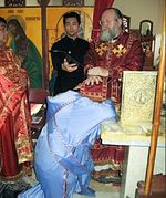 Metropolitan Hilarion Ordinates Fr. Athanasius from Papa - (Left to Right) Fr. Daniel, Reader Alexander Paramonov, Metropolitan Hilarion, Fr. Athanasius