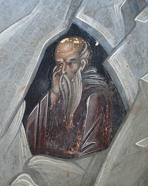 Отшельник. Фреска монастыря Дионисиат, Святая Гора Афон