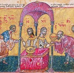 Причащение апостолов. Миниатюра из греко-груз. рукописи XV в.