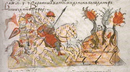 В 983 году Владимир совершил удачный поход против ятвягов и еще на обратном пути в Киев начал приносить жертвы богам в честь своей победы, по возвращении же в столицу ближайшие бояре предложили князю принести в жертву человека.