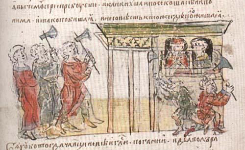 Брошенный жребий пал на сына знатного варяга, пришедшего на Русь из Византии и принявшего христианство. Варяг отказался отдать своего сына, тогда по приказу Владимира его и всю семью убили.