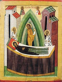 Dormition of the Mother of God. Icon. 15th century, Novgorod. Russian Museum, St. Petersburg.