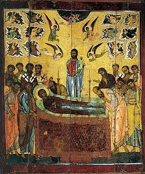 The Dormition of the Mother of God. Early eighth century, Novgorod.