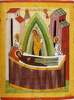 Успение Богоматери. Икона. XV в., Новгород. Государственный Русский музей, Санкт-Петербург