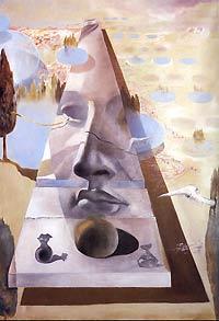 Сальвадор Дали. Явление лица Афродиты Книдской на фоне пейзажа. 1981 год, холст, масло