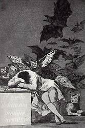 Франсиско Хосе де Гойя. Сон разума рождает чудовищ. 1797 г. Металл, офорт.