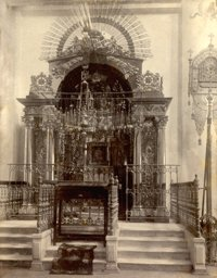 The reliquary of the Kursk Root Icon in the Cathedral of the Sign, Kursk, before the revolution.