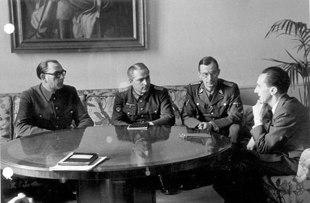 Vlasov (at the left) at the meeting with Goebbels, Reich Minister of Public Enlightenment and Propaganda (at the right)