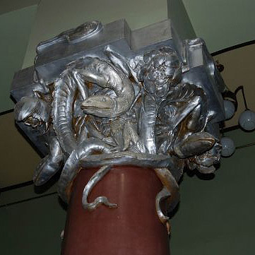 Особняк Рябушинского, колонна с саламандрами. Москва. Архитектор: Федор Шехтель