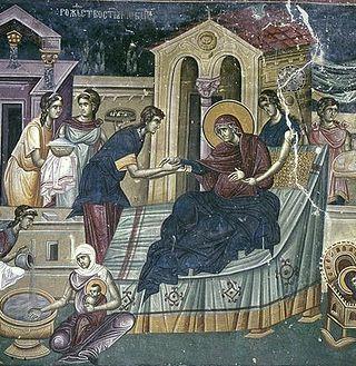 Рождество Пресвятой Богородицы. Фреска монастыря Студеница