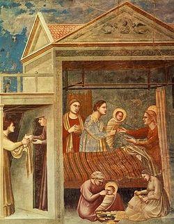 Загрузить увеличенное изображение. 400 x 388 px. Размер файла 52261 b.  Джотто ди Бондоне (1267-1337). Рождество Марии. Часовня Скровеньи, Падуя.