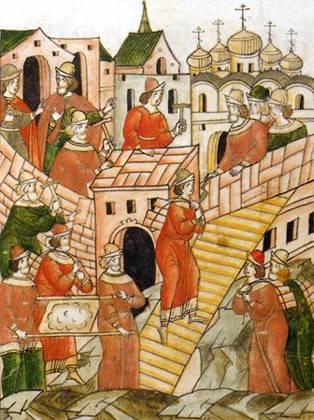 Строительство первого каменного Кремля Москвы. Миниатюра Лицевого летописного свода. XVI век.