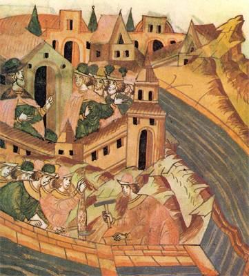 Строительство стен и башен современного Кремля. Миниатюра Лицевого летописного свода. XVI век. Фрагмент