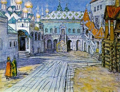 А. М. Васнецов. Царская площадка и Красное крыльцо Грановитой палаты в Кремле. 1904