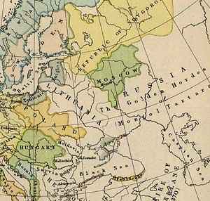 Часть карты Европы XV века. На ней видны протяженные по территории Золотая Орда, Литва, Польша, Новгородская республика и маленькое Московское княжество