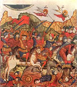 Куликовская битва. Миниатюра XVI в. из рукописного лицевого «Жития преподобного Сергия Радонежского»