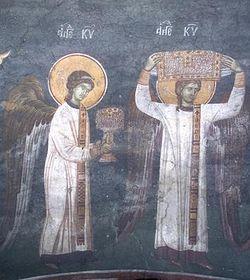 Загрузить увеличенное изображение. 600 x 400 px. Размер файла 57273 b.  Небесная литургия. Ангелы-диаконы со Святыми Дарами. Фреска. Монастырь Грачаница (Сербия)