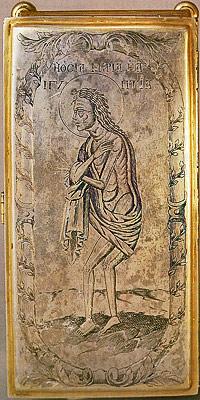 Ковчег со святыми мощами преподобной Марии Египетской. Вклад Е.И. Украинцева в Сретенскую обитель. Изображение святой 1700 г. на крышке