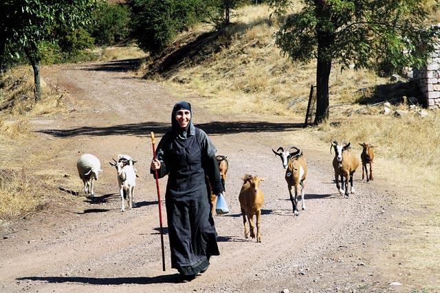Сестра Эсфирь, русская. Ее послушание — писать иконы и ухаживать за животными