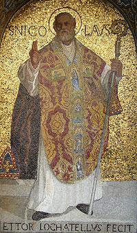 Свт. Николай чудотворец. Мозаика собора Сан-Марко, Венеция