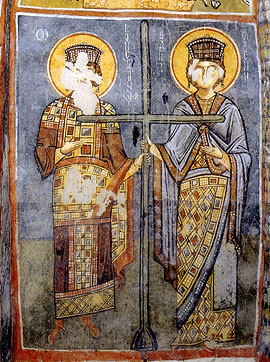 Оскверненная фреска святых равноапостольных Константина и Елены