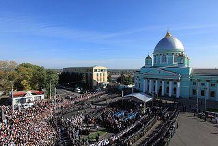 Молебен на Красной площади у Знаменского собора