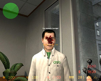Эпизод из игры «Counter Strike»: «Вы ранили заложника!»
