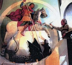 Чудо Георгия о змие. Скульптор В.Д. Ермолин. 1464 г. Реконструкция О. Яхонта