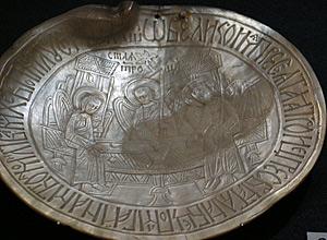 Панагия «Троица Ветхозаветная». ПалестинаРоссия, XVIII в. Перламутр, резьба