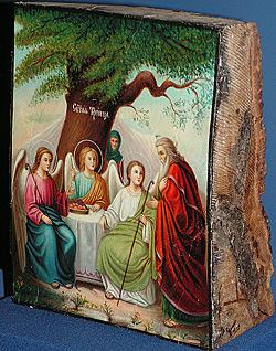 «Троица Ветхозаветная». Икона на спиле Мамврийского дуба. Россия, XIX в.