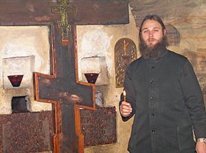 Отец Серафим в пещерах Псково-Печерского монастыря