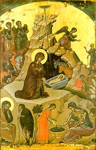 Рождество Христово. Икона афонского монастыря Ставроникита.