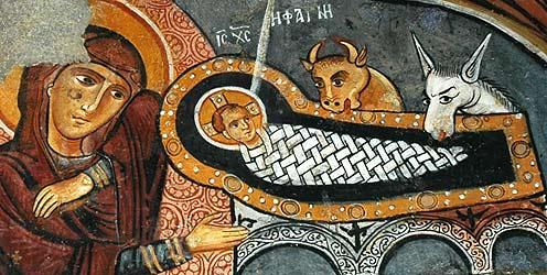 Загрузить увеличенное изображение. 742 x 400 px. Размер файла 114389 b.  Деталь фрески Рождества Христова. Каппадокия.