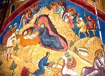 Рождество Христово. Фреска монастыря Високи Дечани.