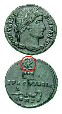 Монета св. Константина. На реверсе изображен лабарум