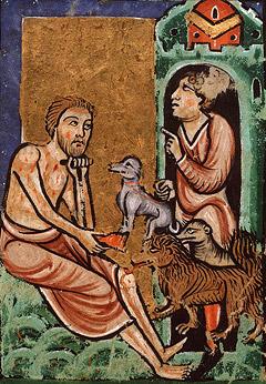 Притча о богаче и Лазаре: Был также некоторый нищий, именем Лазарь, который лежал у ворот его в струпьях и желал напитаться крошками, падающими со стола богача, и псы, приходя, лизали струпья его