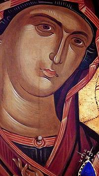 Лик мироточащей Пресвятой Богородицы из храма святых Стефана и Иерофея
