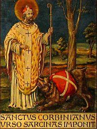 Св. Корбиниан принуждает медведя нести его вещи