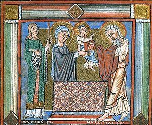 Загрузить увеличенное изображение. 450 x 370 px. Размер файла 131538 b.  Сретение. Средневековая западная книжная миниатюра. Британская библиотека