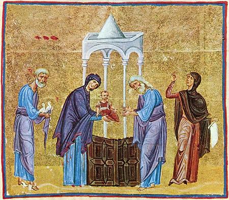 Сретение Господне. Византийская книжная миниатюра. Монастырь Дионисиат, Святая гора Афон