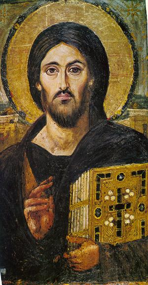 Христос Пантократор. Икона VI в. <br>Синайский монастырь святой Екатерины