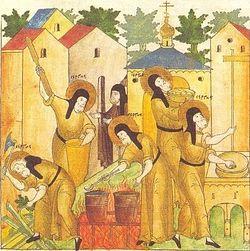 Загрузить увеличенное изображение. 411 x 700 px. Размер файла 120877 b.  Труды святого Сергия Радонежского. Миниатюра из лицевого жития Сергия XVI в.