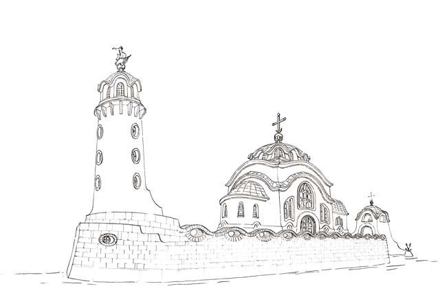 Проект храма памяти святого адмирала Федора Ушакова сочетает в себе каноническую византийскую архитектуру с морской корабельной символикой