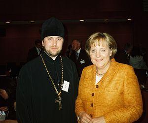 Игумен Даниил с канцлером ФРГ А. Меркель