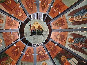 Загрузить увеличенное изображение. 500 x 375 px. Размер файла 166465 b.  Расписное «небо» из Никольской часовни деревни Усть-Поча. 1881 г.